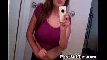 Sexy mirror pictures - Busty teen hottie shows her big tits while taking selfie