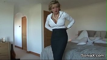Unfaithful british milf lady sonia pops out her huge tits