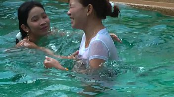 Asian girls having fun Having fun in the pool with my two best friends