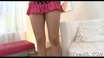 Skinny darling amazes with her skillful schlong sucking session