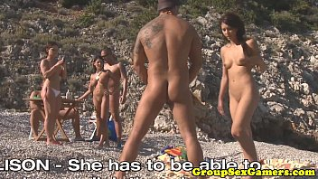 Nudist trampolining game Facialized babes on beach sucking dick