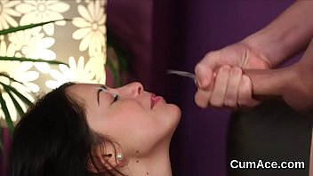 Naughty Stunner Gets Cum Load On Her Face Swallowing All The Jizz