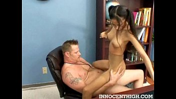 Skinny latina teen Alexis Love riding her profs cock