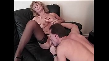 Older blonde gets her moist pussy fucked hard by a younger man