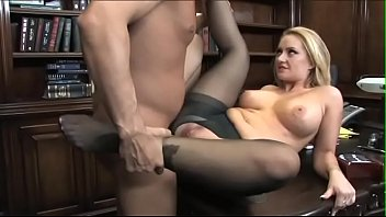 Big boobs blonde Aline in stocking seduces boss for quickie sex on desk