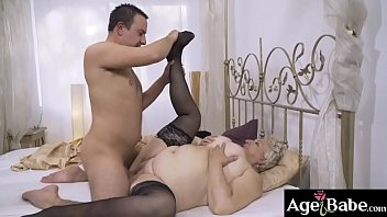 Granny Astrid moans with each thrust of   Rob's throbbing cock
