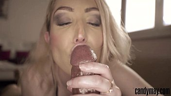 Candy May - Blonde gives handjob and tongue job to BBC
