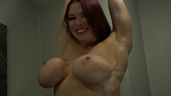Shows off breast implants Busty redhead slut cums with glass g-spot toy