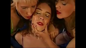 Girls kissing bukkake - Lesbian face and pussy licking of cum covered adriana