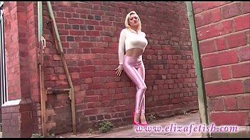 Designer clothes porn Skin tight pink leggings, designer pink high heels, out in birmingham