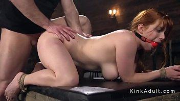 Gagged busty redhead anal fucked