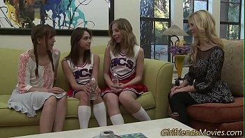 Cheerleader eats milf