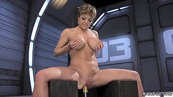 Busty Milf fucks machine and squirts