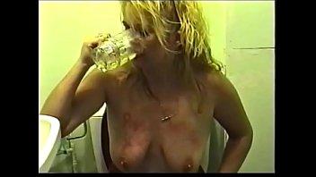 Dirty english  MILF Karen self fist, dildo and piss drinking