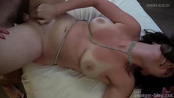 Amateur brunette gets pussy destroyed in swinger orgy