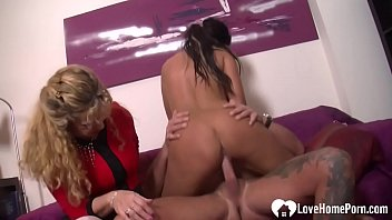 Horny mistress watching her hubby fuck hard