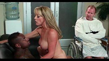 Lascive blonde slut riding huge black dong