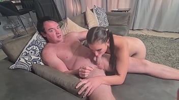 Obedient pigtailed slut giving the cock a sloppy blowjob | deepthroat until she starts gagging