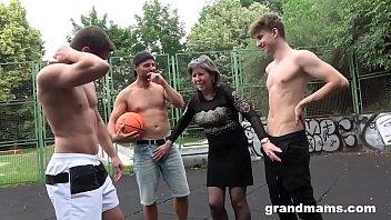 Very old gay Horny granny fucks basketball twinks in public