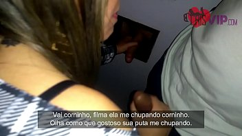 Husband cuckold filming his wife inside porn cinema with gloryhole, men enter the room to fuck and cum in their mouth