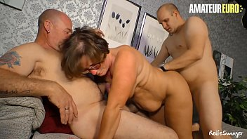 AMATEUR EURO - Horny Mature Wife Indulge In Hot Threesome Sex With Her Hubby & Neighbor