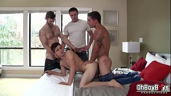 Gay double fucking - Gay group blowjob and hard anal bareback