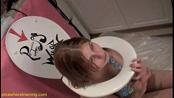 Pee standing at toilet Teen piss whore dahlia licks the toilet seat clean