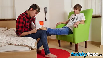 Chase pushes Oscar onto the bed and starts dick servicing