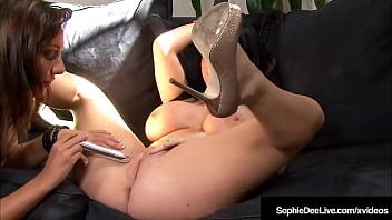 Big Boobed English Star Sophie Dee & Tiffany Brookes Dildo Fuck & Cum!