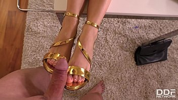 Footjob shoes Home office footfuck in pov with hot sex goddess shona river makes you cum