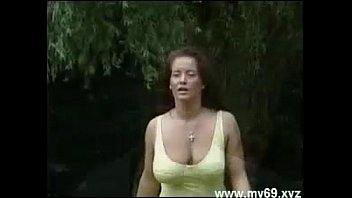 Busty german mature with nice tits gets fucked outdoor