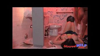 Horny slut with big fake tits get fucked at the toilets
