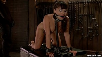 Asian anal toyed on device bondage