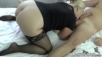 GILF pornstar Lacey Starr riding fan cock for facial
