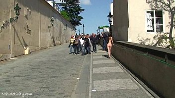 Crazy babe Rossa naked on public streets