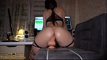Sexy fit brunette rides dildo and fingers ass