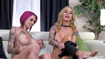Sarah Jessie fucks a tattooed Brunette