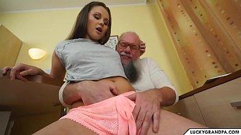 cute babe blows old man