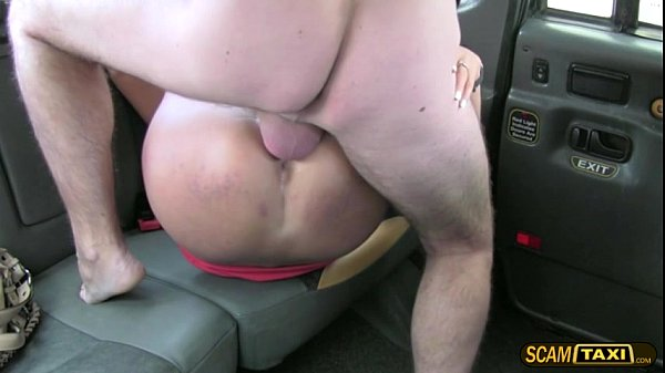 European brunette lady passenger pays sex to a hunk driver