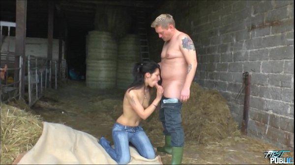 Skinny brunette fucked on the hay