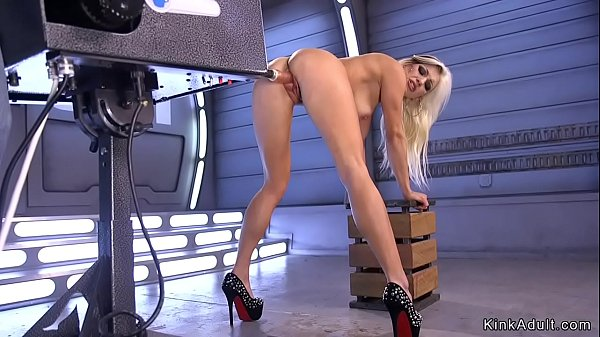 Blonde in fishnet pantyhose fucks machine Thumb