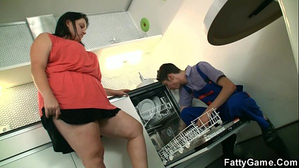Lewd fatty seduced a service man to sex