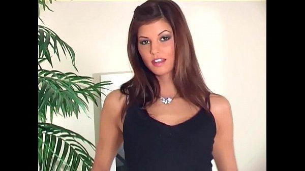 Brunette teasing in a bra panties and stockings