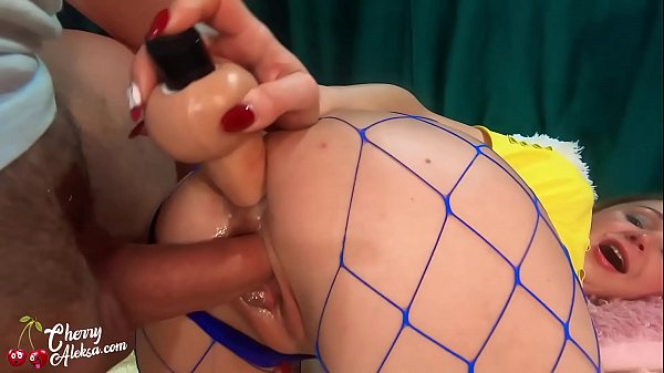 Girl in Grid Deep Sucking, Hard Double Penetration and Cum on Big Ass Thumb