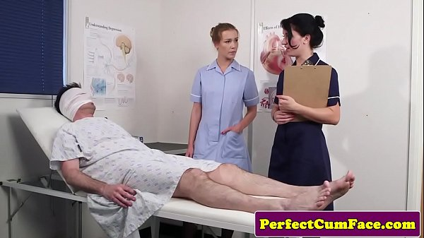 Threeway nurse facialized with huge load Thumb