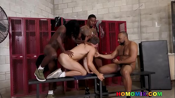 White guy gangbanged by huge cocked black gym boys