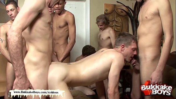 Cum addict Cody Rain gets his first Hardcore Gang Bang - Bukkake Boys