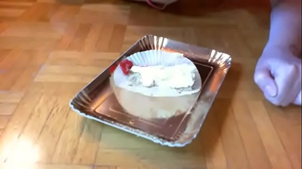 Nicoletta is your little slut masturbating with this cake and eating it all