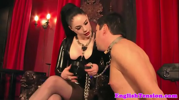 Smoking latex femdom plays with her manslave Thumb