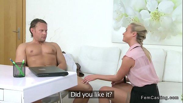 Muscular guy fucks agent in stockings